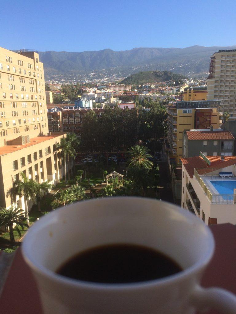 Kaffekopp med utsikt Tenerife
